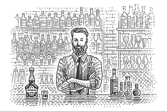 Bartender at bar counter with different bottles of drink on background line drawing. Vector. 2 layers.