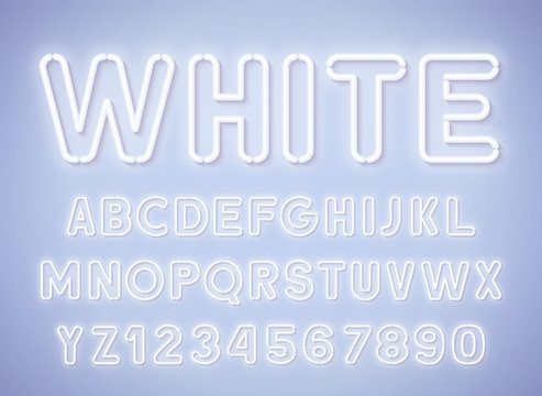 Neon rounded red white, glowing alphabet with numbers on light background.