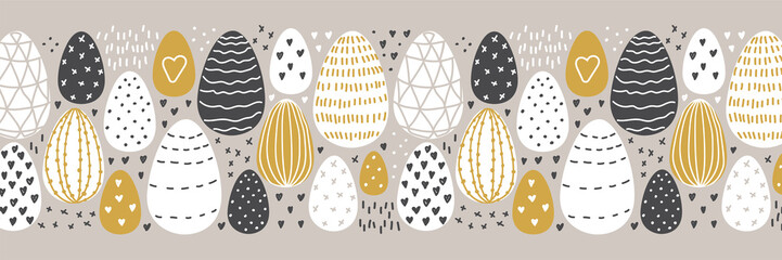 Cute Scandinavian Easter Eggs collection horizontal background with hand drawn textures and decoration elements