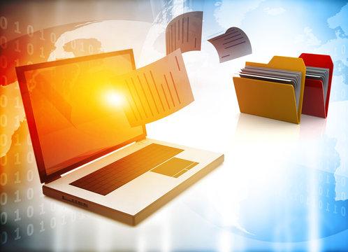 File transfer. Data, File, Folders with paper files. 3d illustration