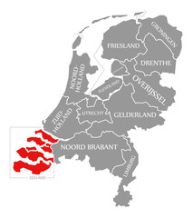 Zeeland red highlighted in map of Netherlands