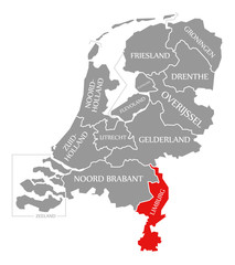 Limburg red highlighted in map of Netherlands