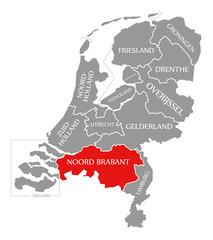 Noord Brabant red highlighted in map of Netherlands