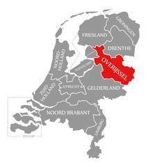 Overijssel red highlighted in map of Netherlands