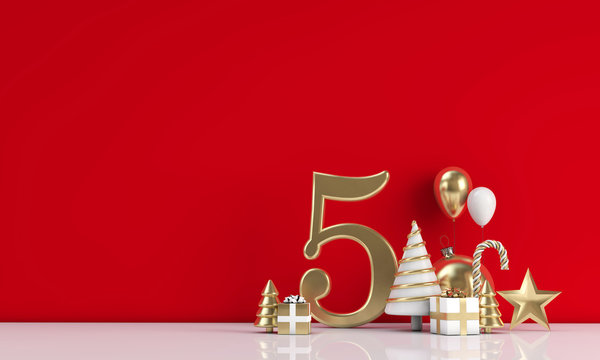 The 12 days of christmas. 5th day festive background. 3D Render