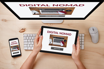 Digital nomad concept on responsive devices