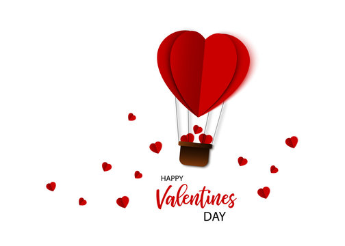 Valentines Day. Air balloon in heart shape flying with hearts. Paper art and origami design. Illustration of the Love. Vector