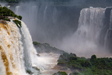 View to Iguazu Falls in sunshine and mist