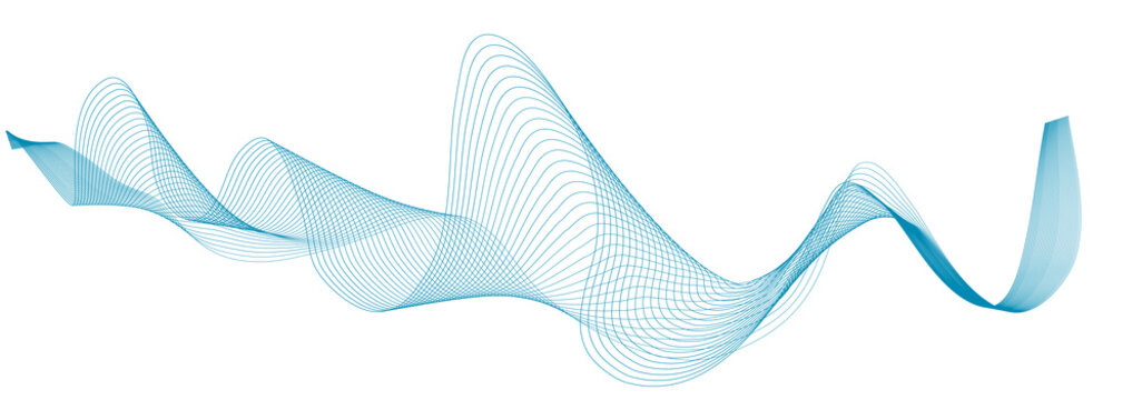 abstract blue wave lines on white background