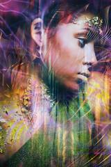 colorful young black woman portrait profile double exposure