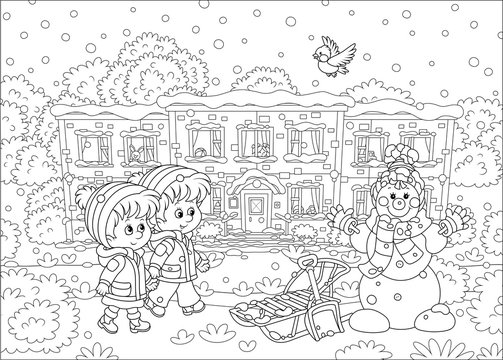 Smiling little kids going to their nursery school and looking at a funny snowman on a snow-covered playground of a winter park on a beautiful snowy day, black and white vector illustration