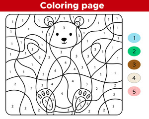 Coloring page for children. Learn numbers for preschoolers. Cute cartoon bear. Educational game. Activity worksheet.