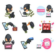 Cartoon hackers at work. Set of vector illustrations. - fototapety na wymiar