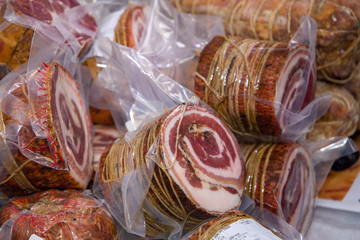 salami pancetta and lard pork processed for the seasoning of Parma italy