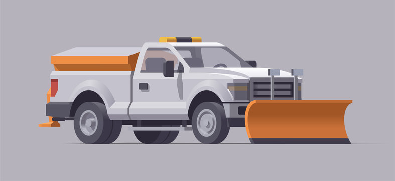 Snow plowing truck. Snow removal. Salt spreader. Vector illustration