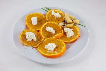 orange salad and flat cheese from North Africa