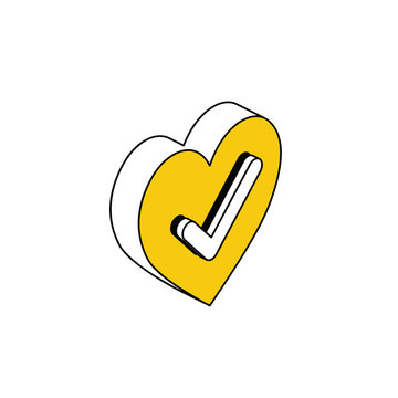Heart checkmark. Vector 3d isometric, color web icon, new flat style. Creative illustration design, idea for infographics.