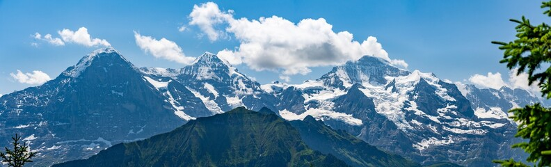 Switzerland, Panoramic view on green Alps and Eiger from Schynige Platte