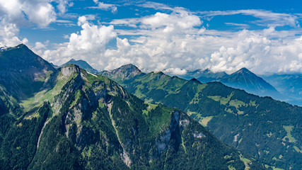 Switzerland, Panoramic view on green Alps and Bällehöchst from Schynige Platte