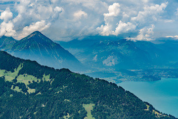 Switzerland, Panoramic view on green Alps and Niesen from Schynige Platte