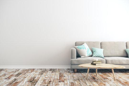 White concrete living room