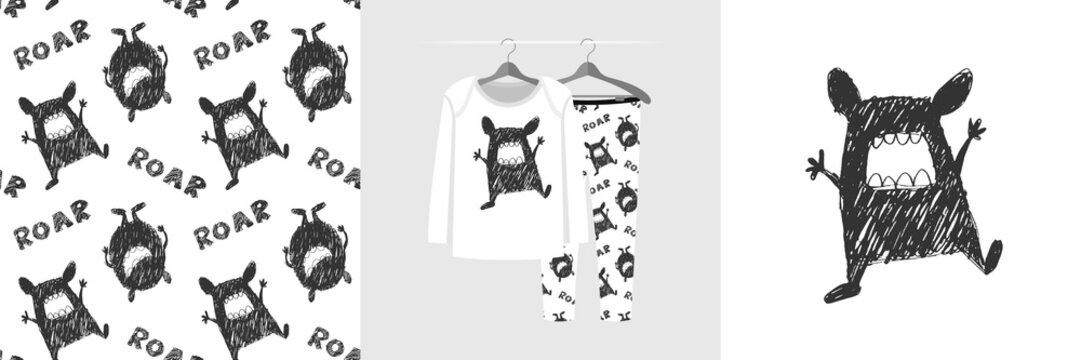 Seamless pattern and illustration for kid with funny toothy monster
