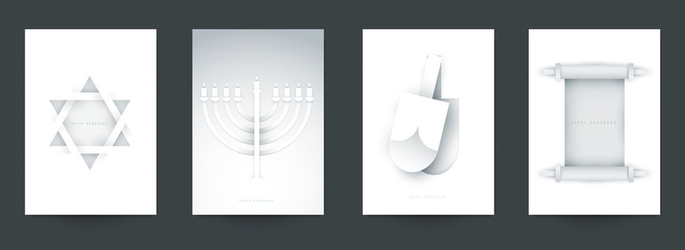 Set of religious background for covers, invitations, posters, banners, flyers, placards. Minimal template design for branding, advertising hanukkah holiday in paper cut style. Vector illustration.