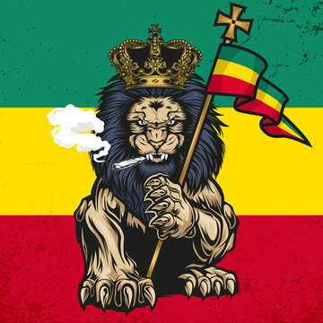Lion Of Judah  Marijuana Cannabis Smoke Rastafa  Vector