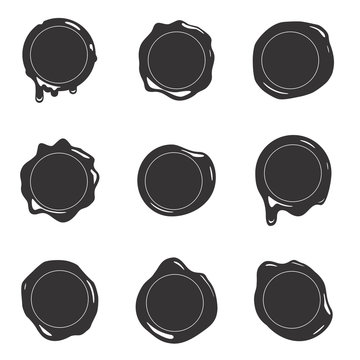 Black silhouette postage wax seal scroll stamp empty sign diploma certificate isolated on white mockup icons set design vector illustration