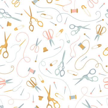Vector seamless sewing pattern in pastel colors on a white background. Vintage seamstress tools. Scissors, threads, needles, pins, thimble. Ideal for printing onto fabric, textile, packaging.