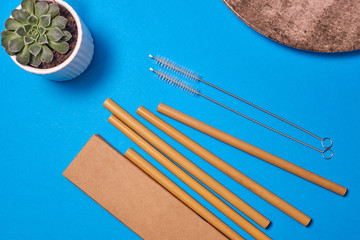 Bamboo drinking straw with cleaning brush and cardboard package box