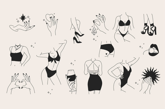 Vector trendy illustration template and icons in linear style - graceful faceless lady. Attractive woman body parts.