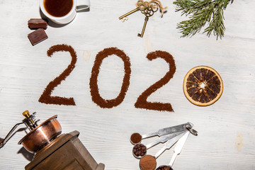 New Year 2020 card with orange and ground coffee