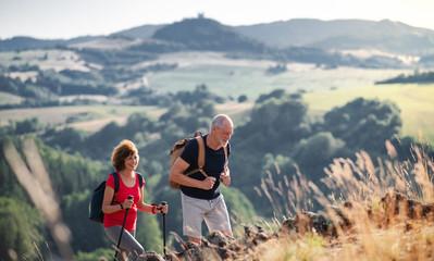 Senior tourist couple travellers hiking in nature, walking. Fotobehang