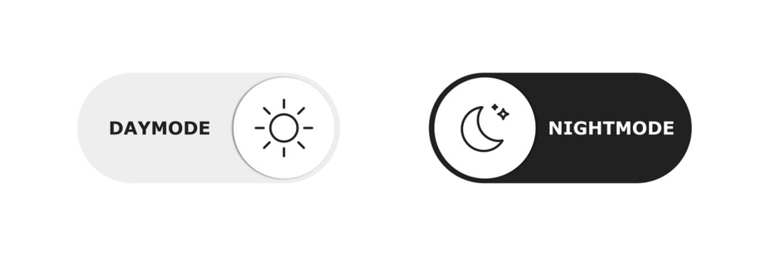 Vector day night switch. Mobile app interface design concept. Dark mode switch icon. Day and night mode gadget application. Light and dark icon.