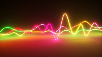 Colorful bright neon glowing graphic equalizer. Multicolored signal spectrum, laser show, energy, sound vibrations and waves. 3d illustration Fototapete