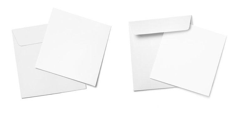 Set of square envelopes with blank papers, isolated on white background