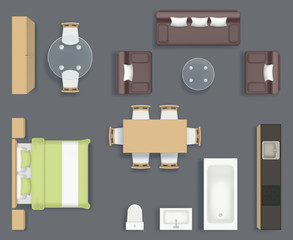 Furniture top view. Kitchen bathroom and living room interior objects chair couch table planning realistic pictures collection. Illustration furniture bathroom and sofa, interior top