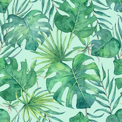 Seamless pattern with tropical leaves. Hand painted in watercolor.