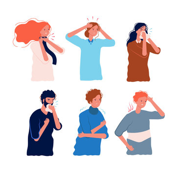 Flu symptoms people. Characters of illness fever ache in the body sore throat pressing head dizziness chills flu prevention vector flat. Illustration sick and fever, ill and disease symptoms