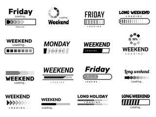 Loading week bar. Business ui interface web template quote pictures lazy week days vector funny pictures. Download ui, downloading motivation waiting holiday illustration