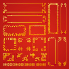 Chinese decoration frames. Traditional oriental borders asian decoration banners frames vector collection. Chinese pattern asian, decoration traditional oriental illustration