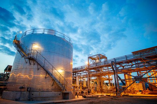 oil and gas processing tank and pipes __