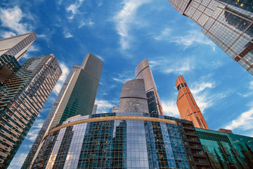 Tops of modern corporate buildings against the blue sky. high-rise buildings and skyscrapers Moscow International Business Center (Moscow City), Russia