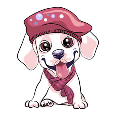 Vector cute little white smiling puppy Labrador Retriever dog wearing a winter scarf and beret