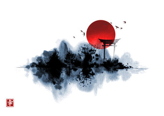 Misty island with forest trees, sacred torii gates and big red sun. Traditional oriental ink painting sumi-e, u-sin, go-hua. Hieroglyph - happiness.