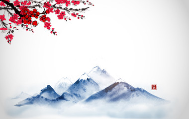 Far blue mountains and sakura blossom hand drawn with ink. Traditional oriental ink painting sumi-e, u-sin, go-hua. Hieroglyph - beauty.