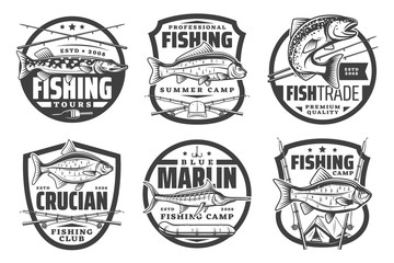 Fishing club, fisherman summer camp and big fish catch tours icons. Vector fishing tournament badges, fisher equipment tackles, rods and lures for sea tuna, salmon or marlin and river pike