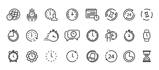 Time and Clock thin line icons. Time management, 24 hour clock, deadline alarm. Calendar, Clock, Time, Date, Timer, Sand hourglass, Digital smartwatch, Timer stopwatch vector sign collection.