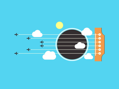 An abstract illustration of an acoustic guitar. Guitar. Strings are planes that fly by the clouds and the sun. Flat style. Vector illustration